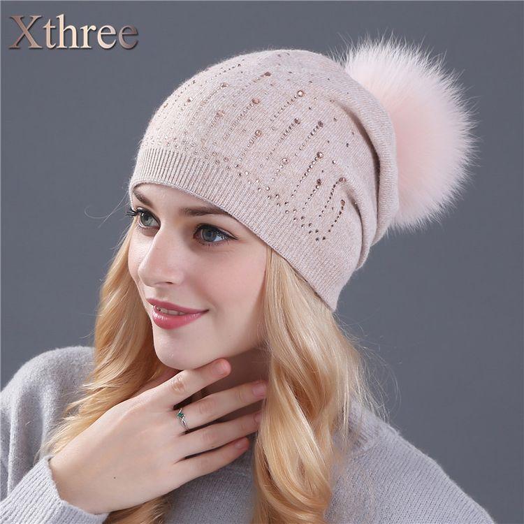 08ad1eda9bf45 Xthree winter hat for women Rabbit fur wool knitted hat beanies real mink  and fox fur pom poms Skullies hat girls hat feminino  glam  pretty  swag   cute ...