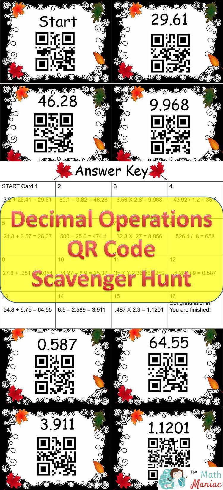 decimal operations qr code scavenger hunt