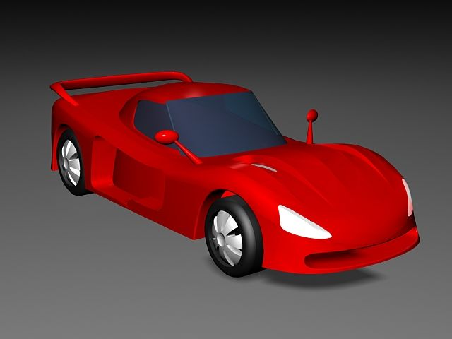 Red Cartoon Car 3d Model 3ds Max Files