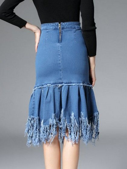 e2afc7dd4a Distressed Denim Ruffled Hem Plain Midi Skirt