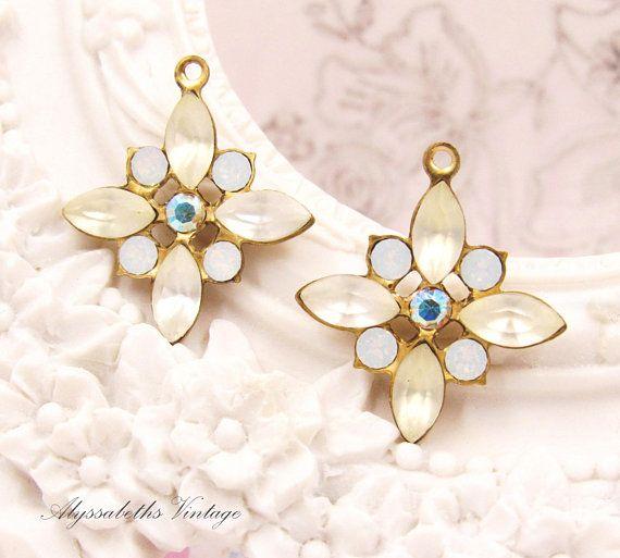 eb93099d1 Vintage Matte Crystal, White Opal & AB Crystal Rhinestone Star Flower  Pendants, Earring Dangles 23x20mm Brass Floral Drops - 2