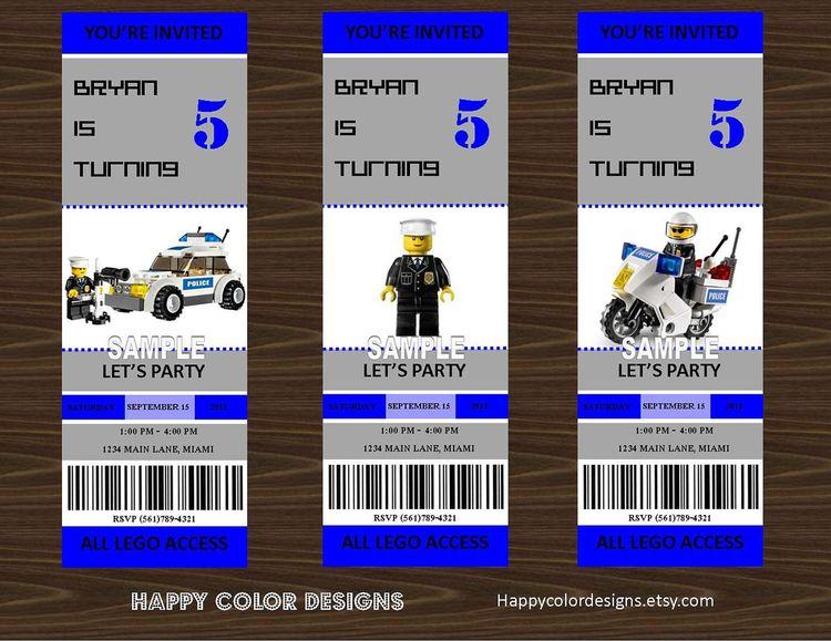 Lego Police Invitation