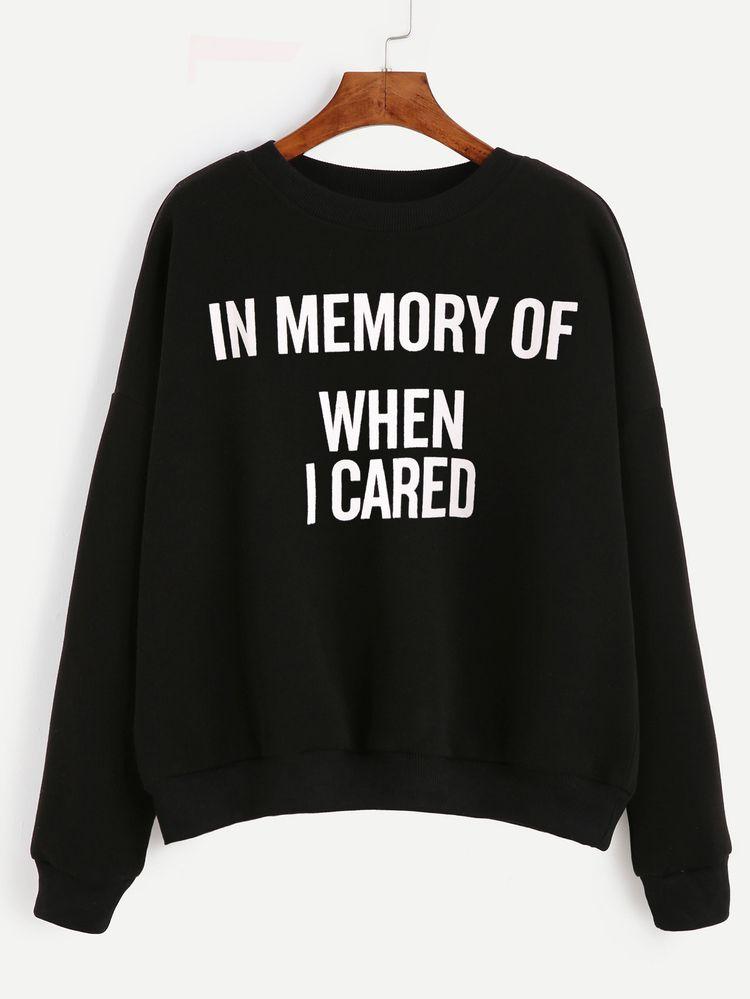 e5ddfff65de8d Shop Black Letter Print Drop Shoulder Sweatshirt online. SheIn offers Black  Letter Print Drop Shoulder Sweatshirt & more to fit your fashionable needs.