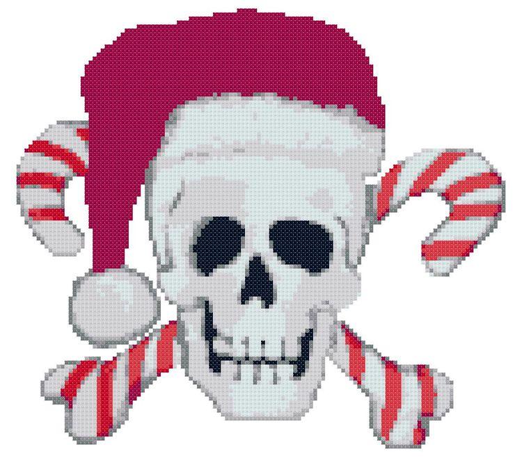 Santa Skull Candy Cane Cross Bones Cross Stitch Pattern P