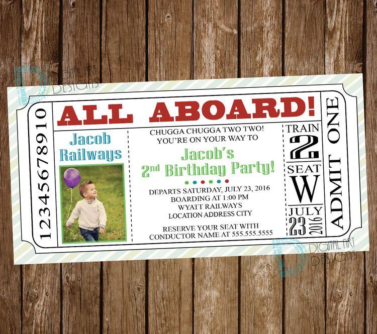 Train Birthday Invitation Ticket In