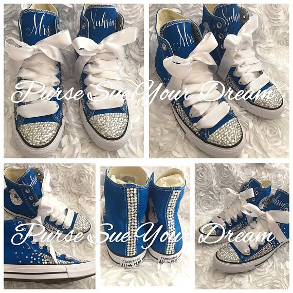 4ce8506c276d Personalized Bridal Swarovski Crystal Wedding Converse - Swarovski Crystal  Wedding Shoes - Wedding Party Converse -