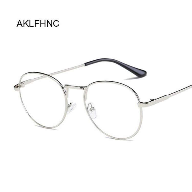 369908b28207 Fashion Retro Round Glasses Frame For Women Men Circle Metal Frame Vintage  Oval Eyeglasses Clear Lens