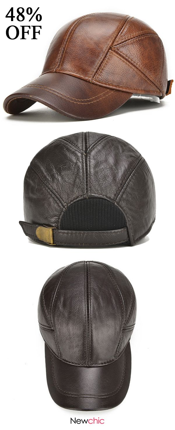 48%off Mens Winter Genuine Leather Baseball Caps With Ear Flaps Outdoor  Warm Trucker Adjustable Hats  leather  caps  vintage e2f754fa282f