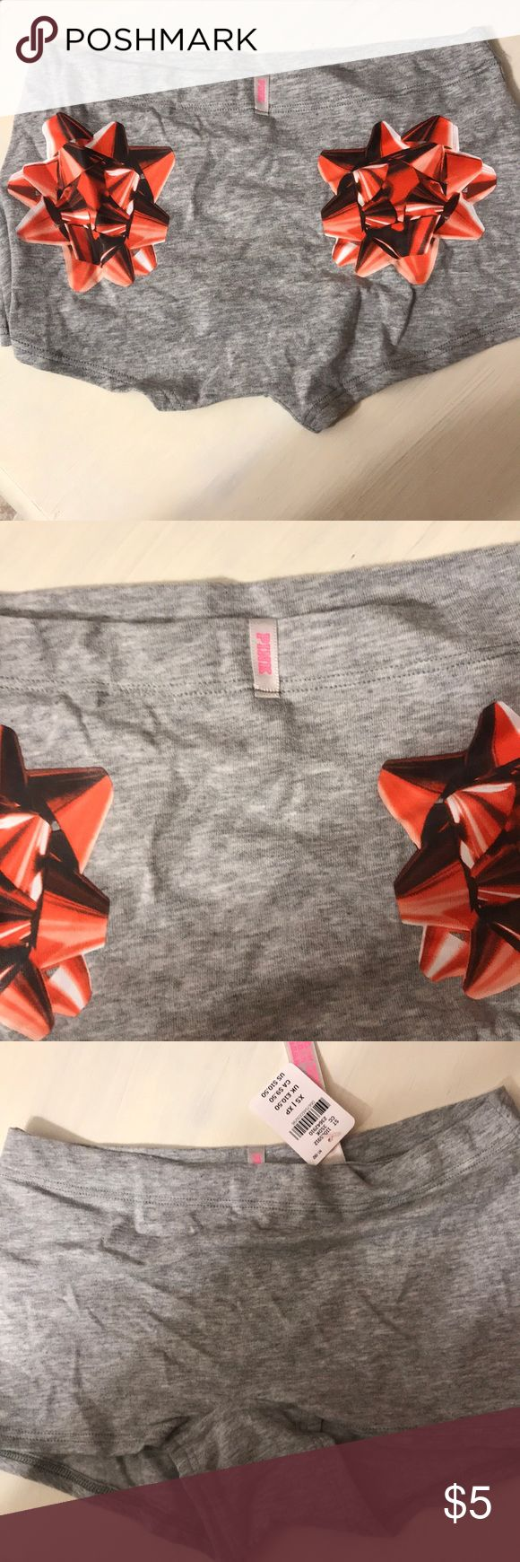 9bb7f802d817 XS NWT Victoria's Secret PINK boy-shorts Grey with red bows on back. PINK