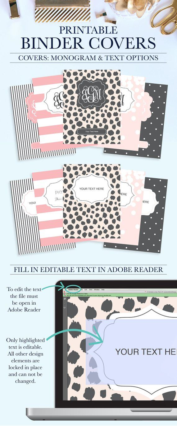 Student Printable Binder Covers And Spines Personalized Cover Teacher Inse