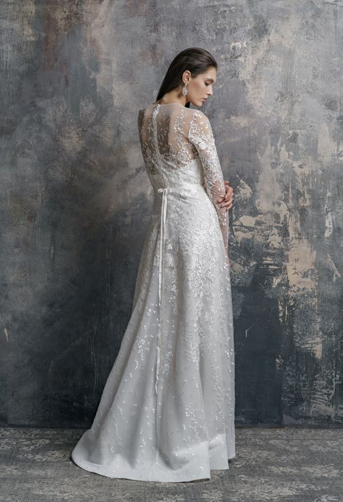 d6cca90a69259 Romantic Boho Lace Floral wedding dresses ANGELINA with long lace sleeves  with low back and sweetheart neckline bodice bridal gown