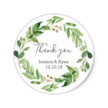 green leaves wedding thank you stickers