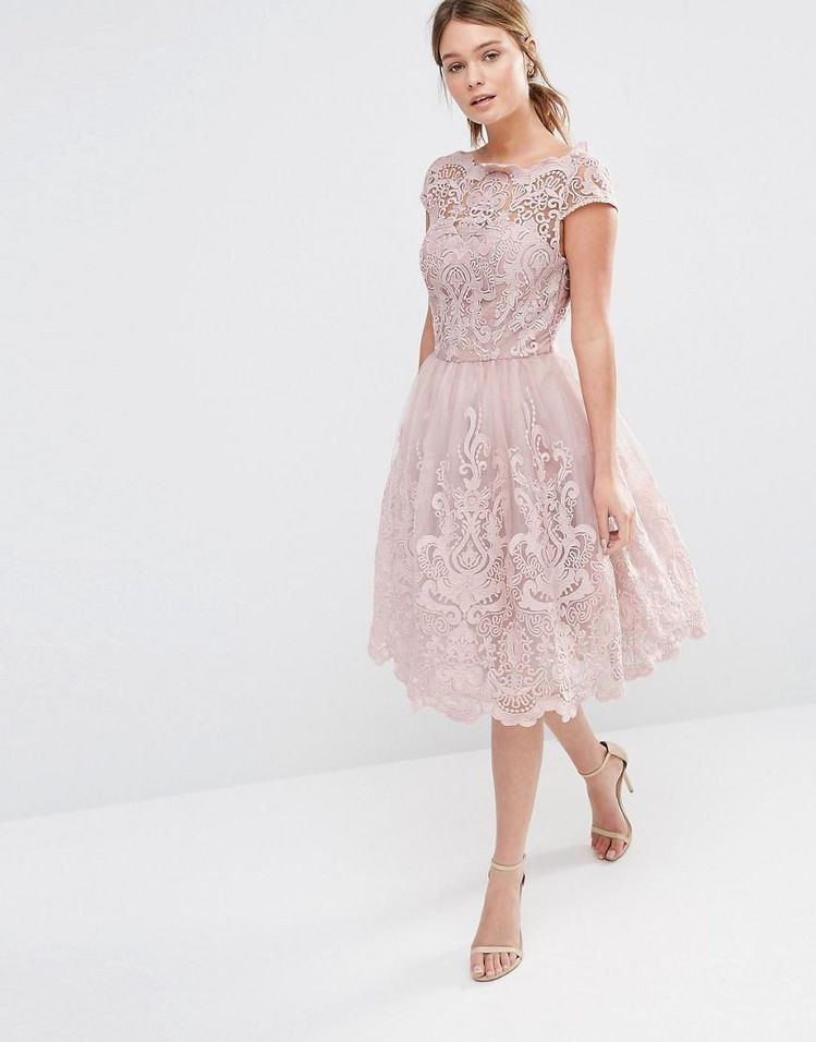 48c5039d03 Buy Chi Chi London Women s Pink Premium Lace Midi Prom Dress With Bardot  Neck