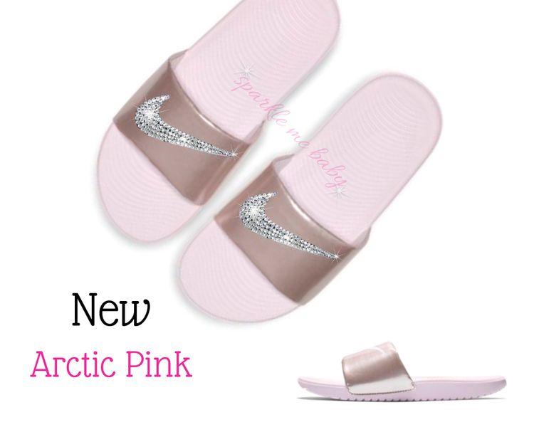 f83b29e3f Nike Slide Womens - NEW - Arctic Pink - Swarovski Nikes - Custom Nike Slides  - Bedazzled Nikes - Customized by SparkleMeBaby2u