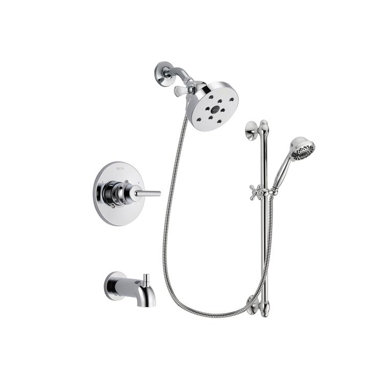 Delta Trinsic Chrome Finish Tub And Shower Faucet System Package With 5 1 2 Inch Head 7 Spray Handheld Sprayer Slide Bar Includes