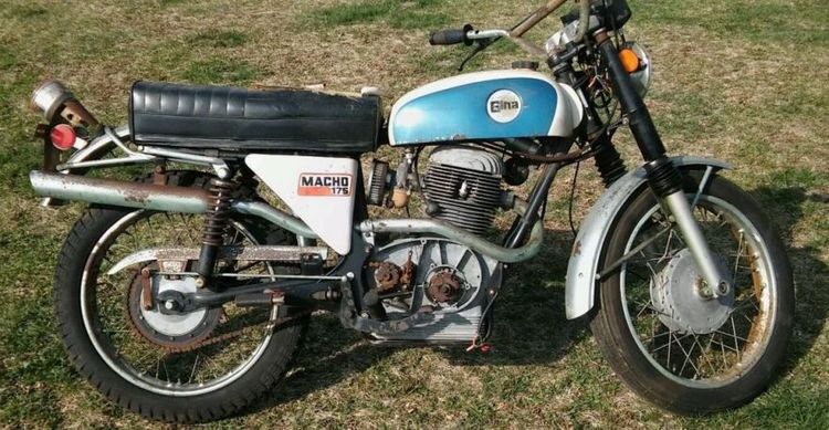 """Gina is a combination of GIlera and ArgentiNA, as this bike was a partnership between """"Italy's finest design engineers and the genius of Argentina's master craftsmen."""" The company offered trail and road models in both 175cc and 250cc displacements – here's a rare example of the 175cc road bike that will need to be restored."""