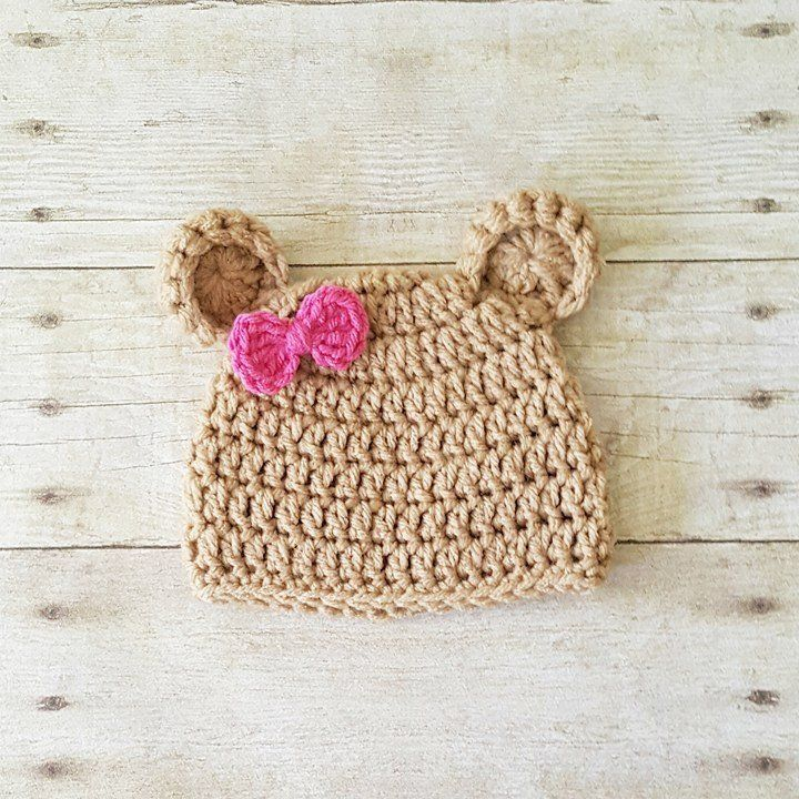 Crochet Baby Bear Hat Beanie Bow Infant Newborn Baby Toddler Child  Photography Photo Prop Baby Shower Gift Present Baby Toddler Girl Hat 67f353b15bef