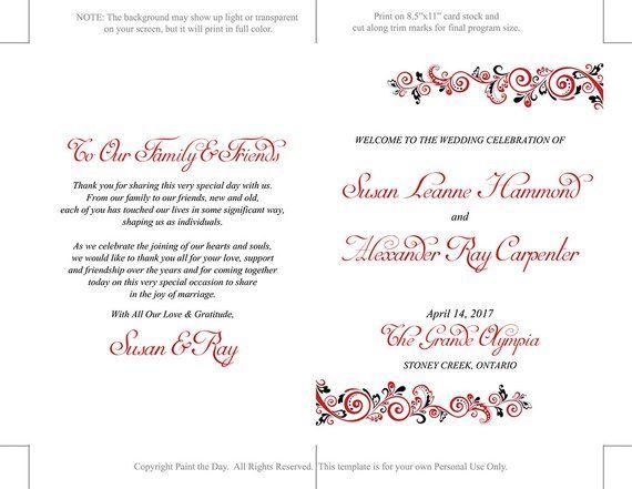 fold over wedding program template order of service tim