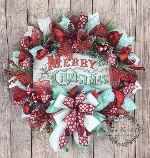 christmas wreaths for front door christmas door decor christmas door wreath christmas wreaths winter wreath mint decor mint and red this is a fun and