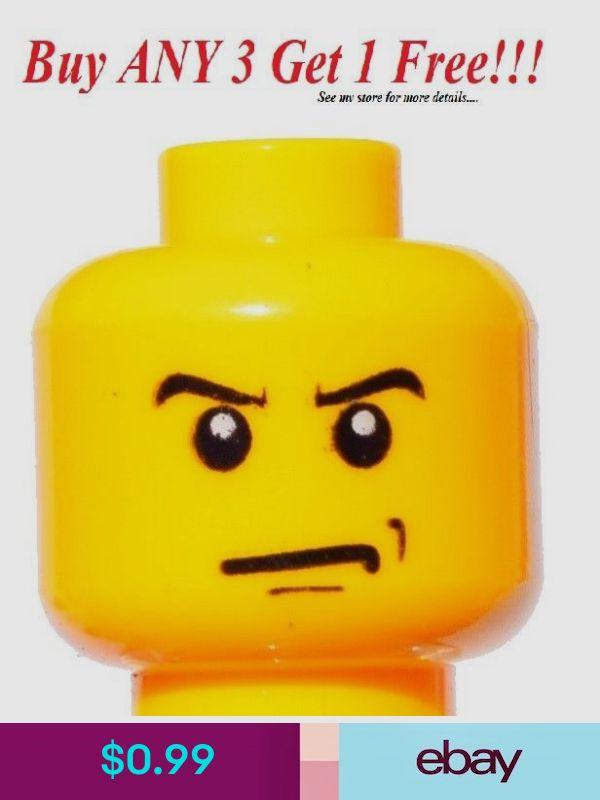 NEW Lego Male Boy MINIFIG HEAD w//Black Rim Glasses /& Smile Police//City//Agents