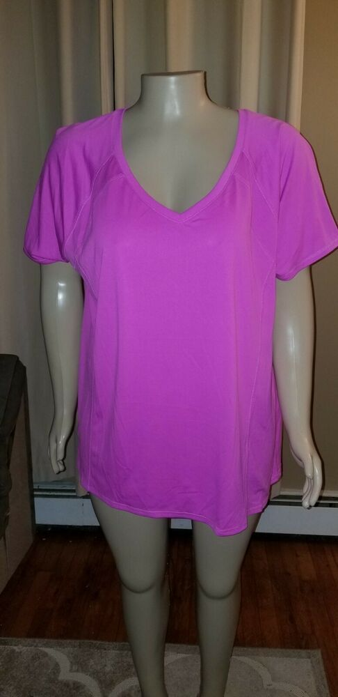 027b7e58980ca Livi Active by Lane Bryant Pink Wicking Active V-Neck Top 26/28 NWOT