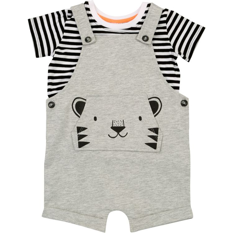 ad570cbcf713 Dymples Baby Novelty Overall Set - Mid Grey Marle