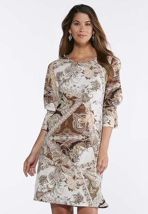 f0ad65ad252 Cato Fashions Plus Size Neutral Paisley Bell Sleeve Dress  CatoFashions