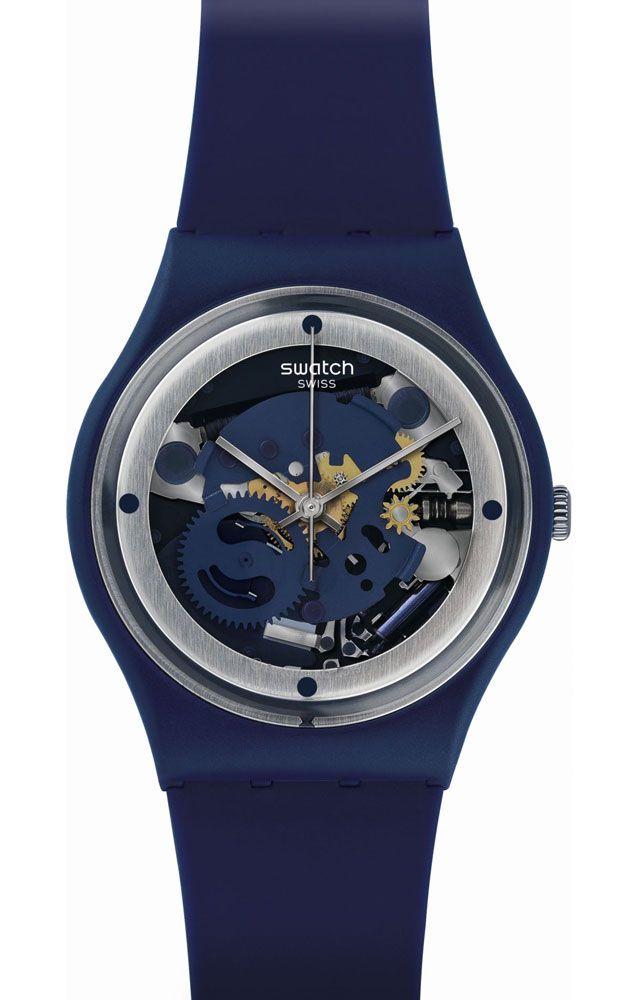 Unisex Blue Swatch Squelette Gn245 Reloj ZiOPukX