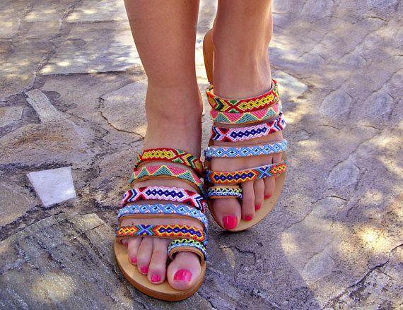 108effeb17d43 Colorful leather sandals / Greek Boho Sandals / Bohemian St
