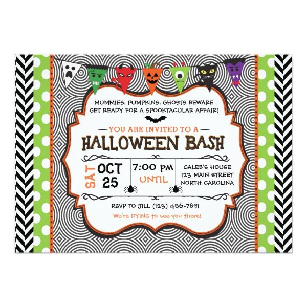 Kids Halloween Party Invitation Birthday Invite