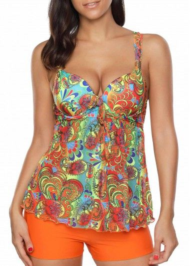 bb352426e38b4 Padded Halter Printed Asymmetric Hem Tankini Set on sale only US$32.89 now,  buy cheap