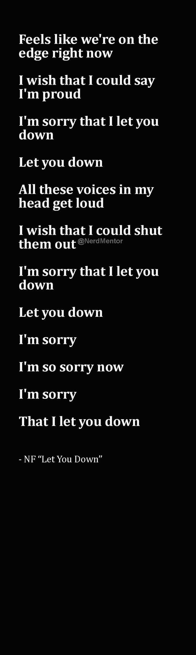 Im So Sorry Nf Sorry That I Let You Down Lyrics Songs