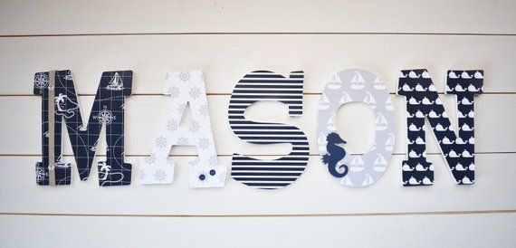 Nautical Navy Gray Nursery Letters Wall Decor Baby Shower