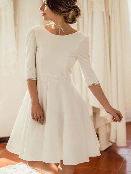 Wedding-Dress Short-Sleeves Ivory Robe-De-Mariage Open-Back Ache Knee-Length Wedding Dress