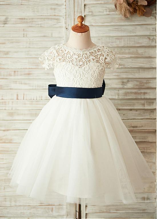 [45.99] Stunning Lace & Tulle & Satin Jewel Neckline A-line Flower Girl Dresses - lilybridalshop.com