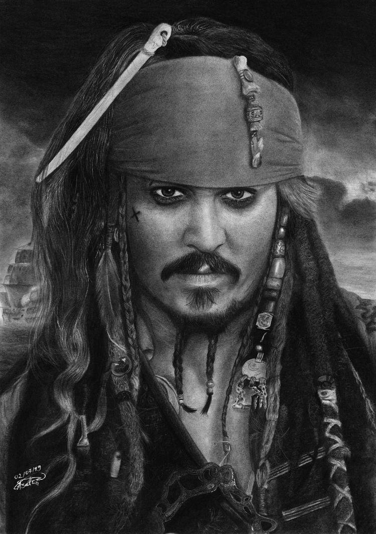 Retrato original de Jack Sparrow, com carvão