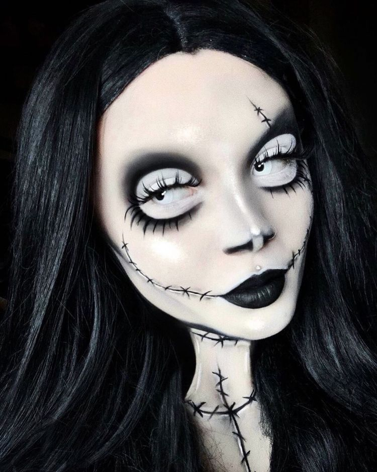 """NYX Professional Makeup on Instagram: """"A monster mash of Morticia Addams, Sally Stitches, and Jack Skellington by @vocallyshook 💀⚰️ She uses our Jumbo Eye Pencil in 'Milk' and…"""""""
