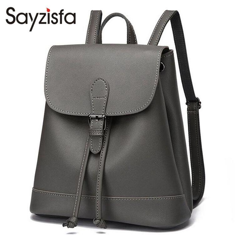 e042af3801e Sayzisfa Brand New Women Backpacks Leather Student School