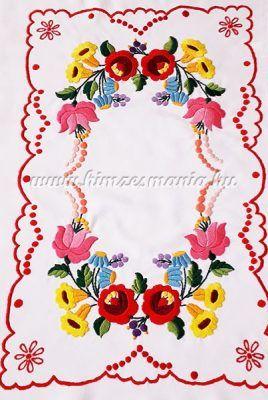 Table runner - hungarian folk embroidery - Kalocsai motif - handmade red  borders - 26x40 cm 857e7735ba