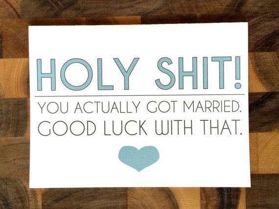 funny naughty wedding card holy shit you actually got married by hilovegreetings on etsy