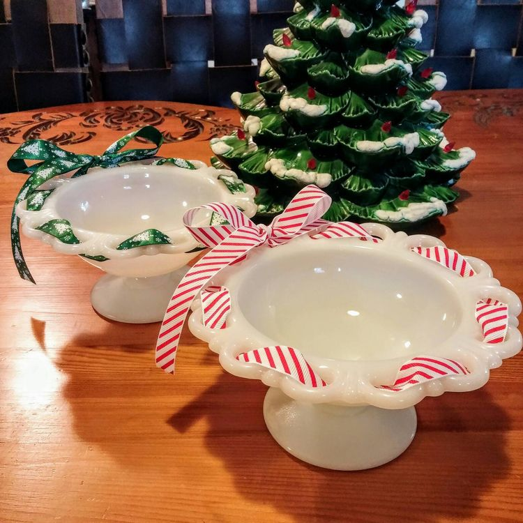 milk glass christmas candy dish laced edge milk glass pedestal dish christmas candy dish - Christmas Candy Dishes