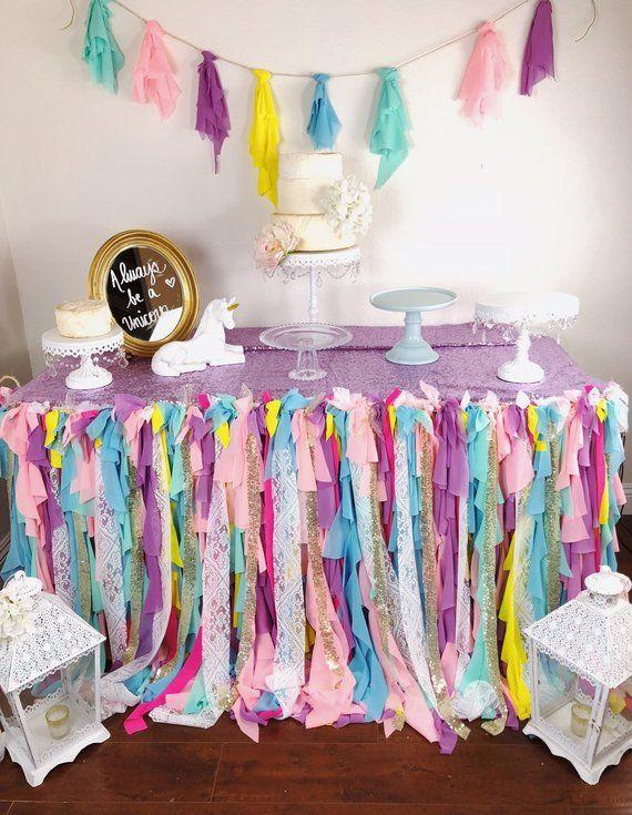 Rainbow Table Skirt, Unicorn Table Cover, Unicorn Table clo