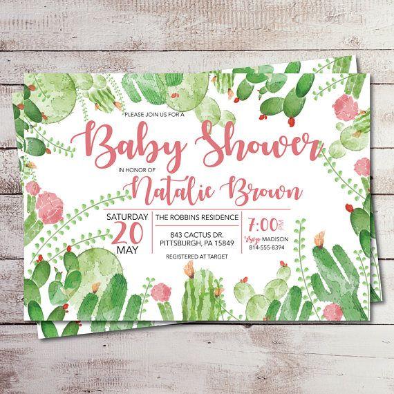 watercolor desert cactus baby or bridal shower invitation watercolor