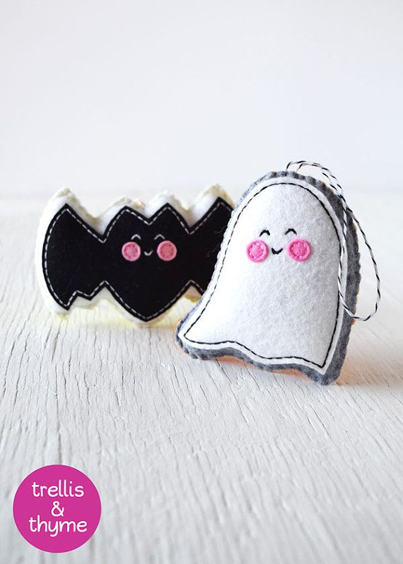 PDF Pattern - Ghost & Batty Felt Pattern, Kawaii Felt Orna