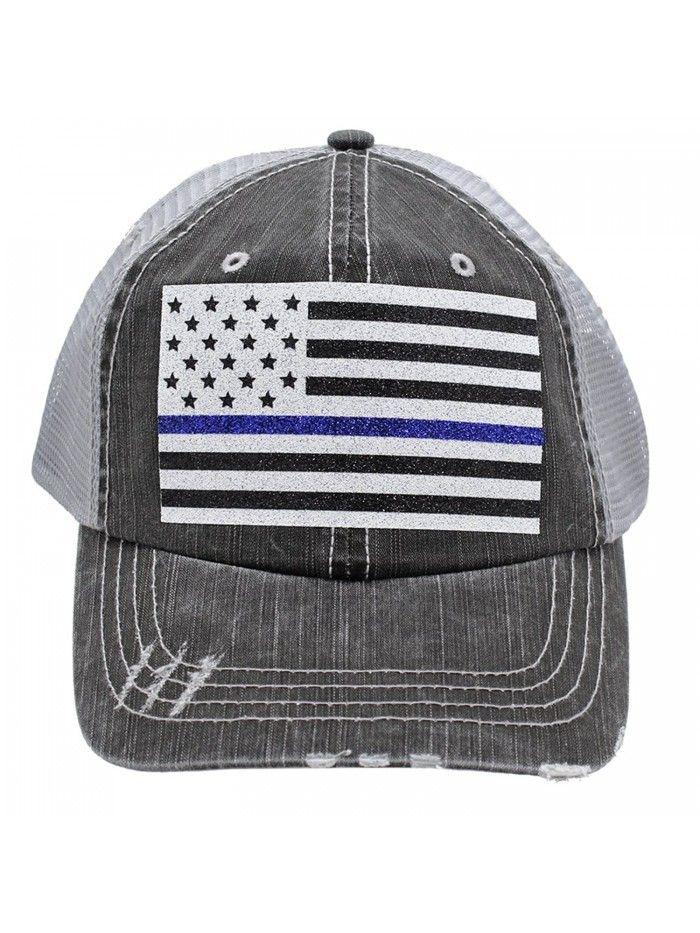 0402fbc06f9b7 Thin Blue Line American Flag Police Wife Mom Women Glittering Distressed  Trucker Style Cap Hat - CG17Z4L4EU5