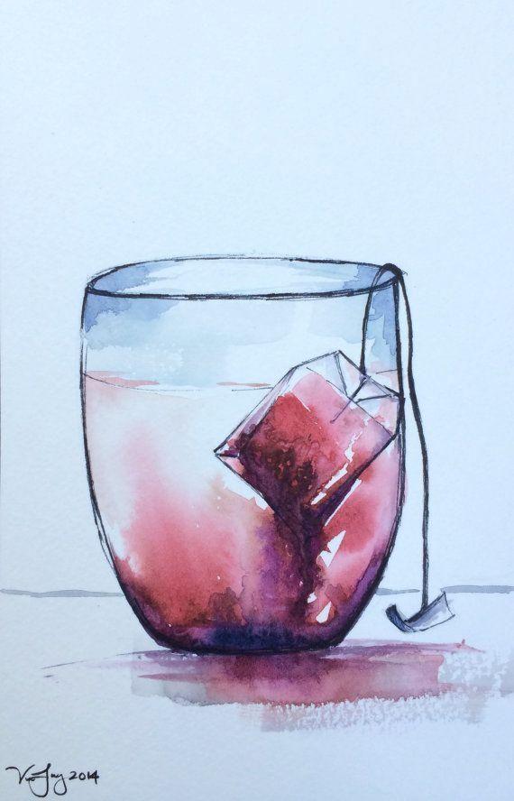 Teacup Watercolor painting – original watercolor painting, kitchen artwork, tea bag soaking