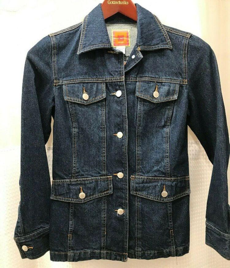fcf5446c Details about Isaac Mizrahi for Target Blue Jean Denim Pocket Jacket Coat  Womens Size Small