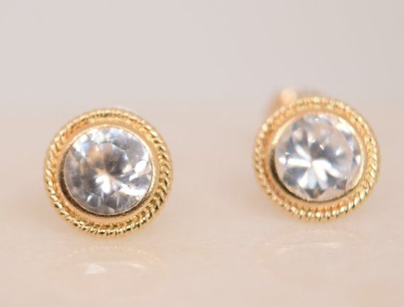 10k Gold Earrings Sparkling Bezel Set Cz S Dainty Hypoallergenic Sensitive Ear