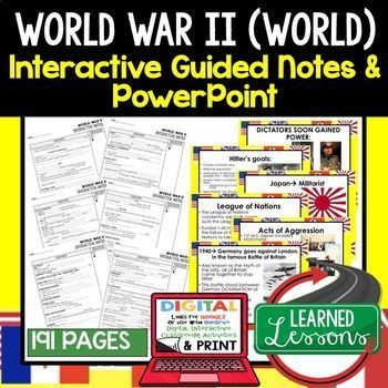 world war ii guided notes powerpoints digital and print