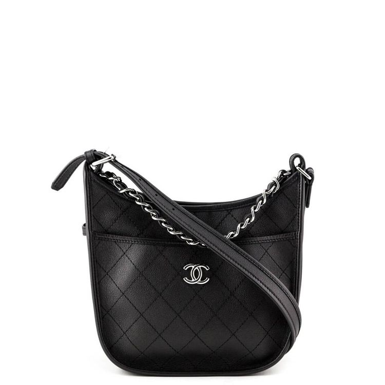 59d1bdf34aa Chanel Black Quilted Calfskin Small Jungle Stroll Hobo Bag